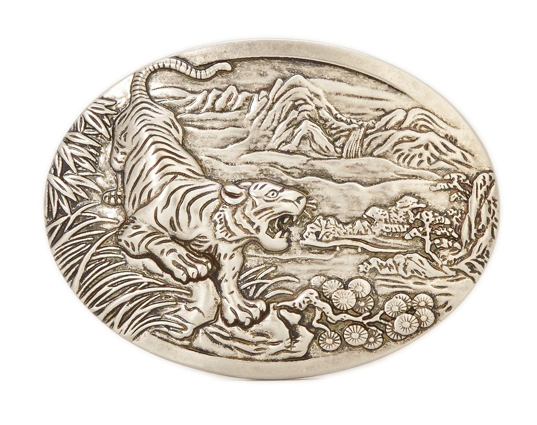 Gurscour Moda Occidentale Antico Argento Inciso Fiore 3D Leone Fibbia della Cintura