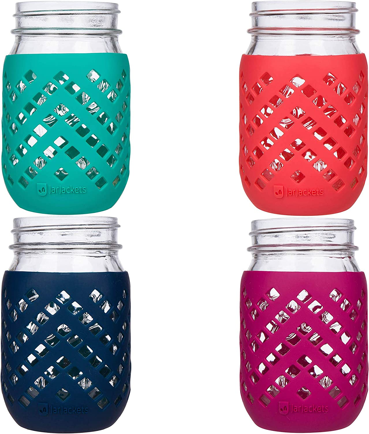 Package of 1 Lagoon JarJackets Silicone Mason Jar Protector Sleeve 1 pint Fits Ball Wide-Mouth Jars Kerr 16oz