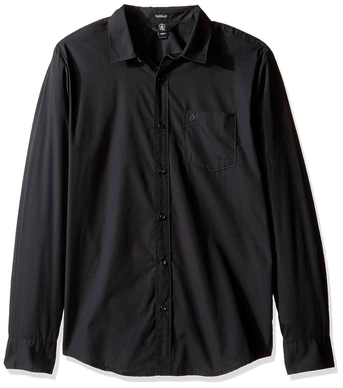 TALLA M. Volcom Everett Solid L/S Camisa, Hombre