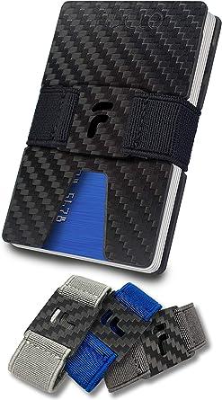 Men/'s Carbon Fiber Credit Card Holder Elastic Band Slim Wallet Purse Money Clip