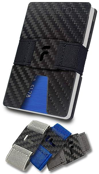 2aa8fb43d0f2 FIDELO Carbon Fiber Minimalist Wallet - Slim RFID Credit Card Holder Money  Clip for Men