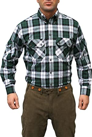 German Wear Camisa de Caza Cazador Camisa para Caza Verde/Cuadros