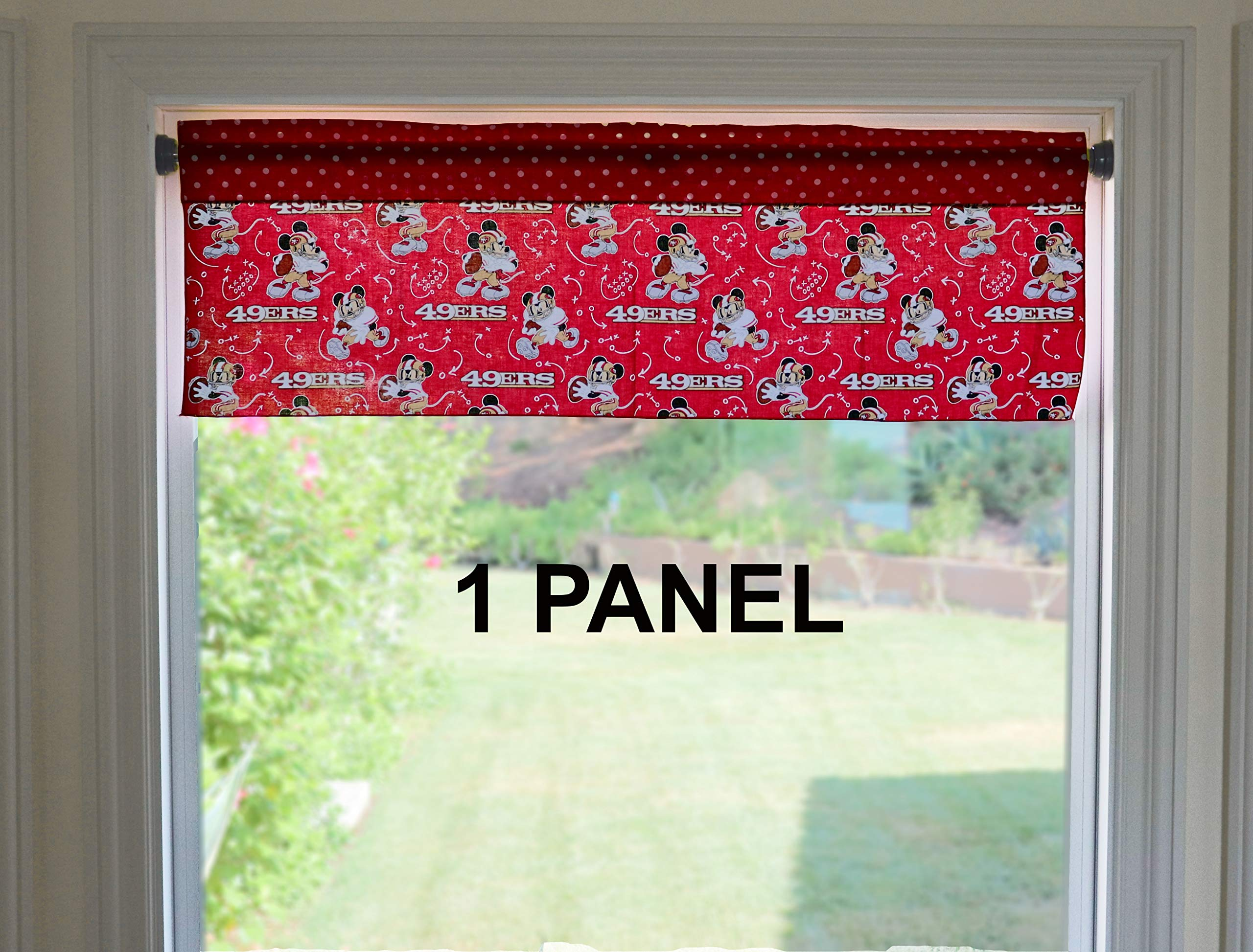 Lovemyfabric Mickey Mouse Plays Football For San Francisco 49ers Sports Team Window Valance 100 Cotton Print Kids Room Nursery Kitchen Dining Bedroom Treatment Decor 14 Tall 42 Wide