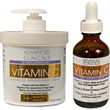 Advanced Clinicals Vitamin C Skin Care set for face and body. Spa Size 16oz Vitamin C cream and Vitamin C face serum for…