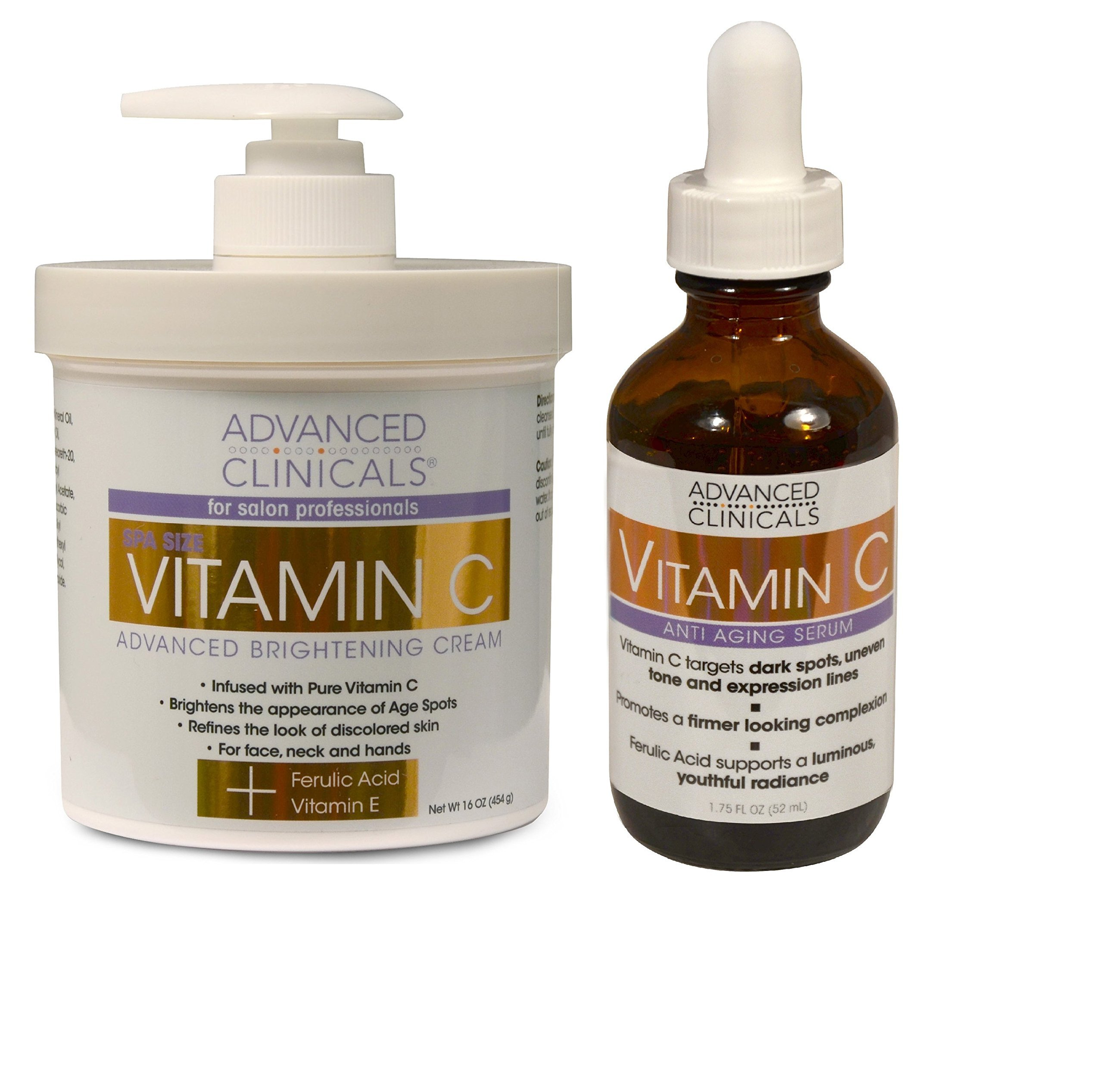 Advanced Clinicals Vitamin C Skin Care set for face and body. Spa Size 16oz Vitamin C cream and Vitamin C face serum for dark spots, age spots, uneven skin tone in as little as 4 weeks! by Advanced Clinicals