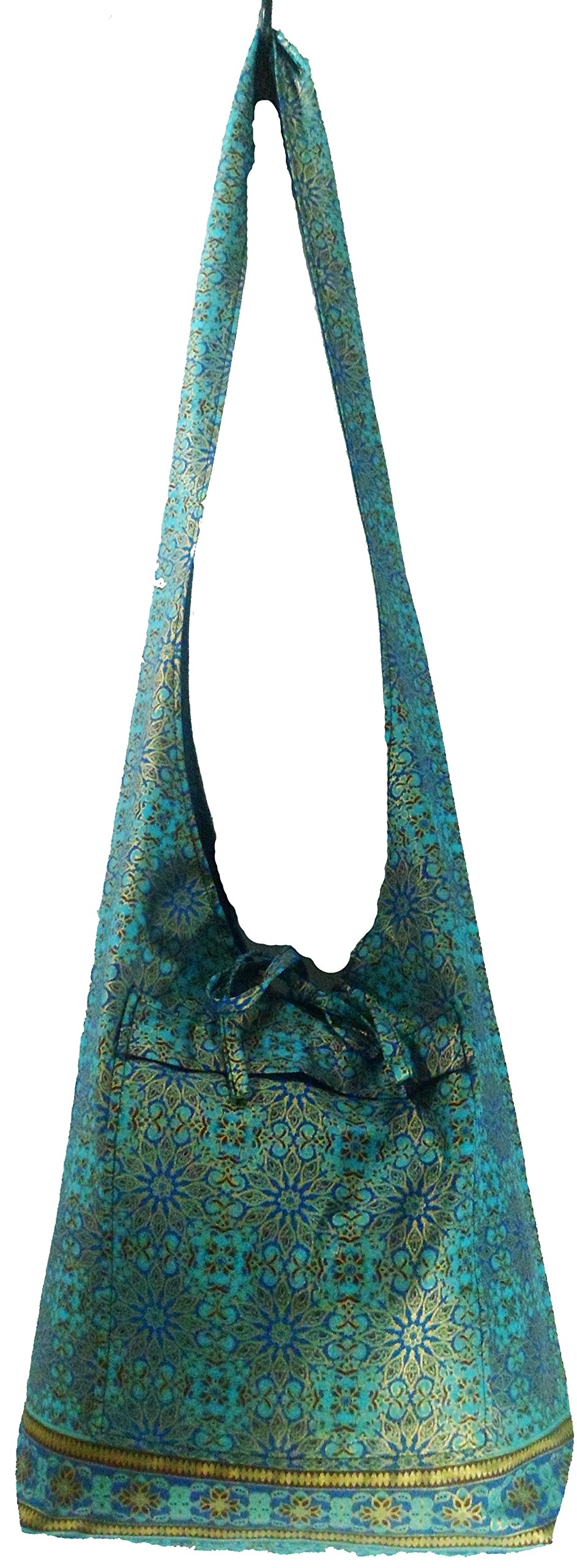 Rare Asian Hippie Hobo Cotton Sling Cross-body Handmade Bluethai Pattern Bag Shoulder Purse