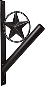 """EcoRise Flag Pole Holder - Texas Rustic Iron Star Bracket Mount Outdoor Wall Décor for House, Strong and Rust Free Coated, 1-1/8"""" Inner Diameter (Black)"""