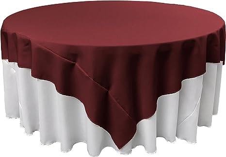 Amazon Com La Linen Polyester Poplin Square Tablecloth 72 Inch Burgundy Home Kitchen