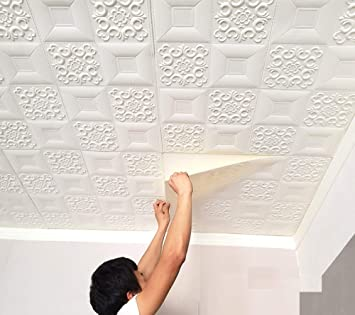 Buy Foam Wall 3d Ceiling Wallpaper Tiles Panel Vinyl Stickers Self Adhesive For Home Living Room Bedroom Wall Panels 70 X 70 Cm 4 White Online At Low Prices In India Amazon In