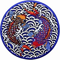 ZEGINs Koi Japanese Fish Patch Embroidered Applique Iron On Sew On Emblem