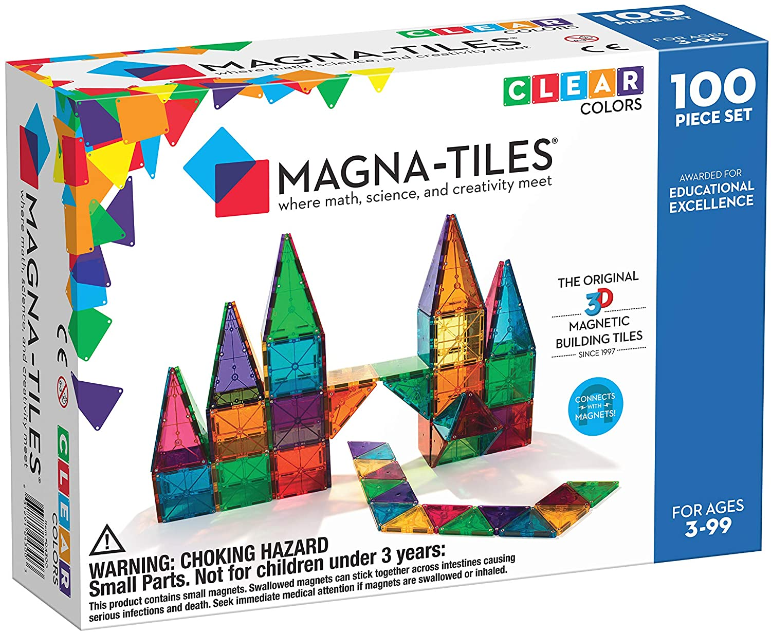 Magna-Tiles Clear Colors 100 Pieces Set