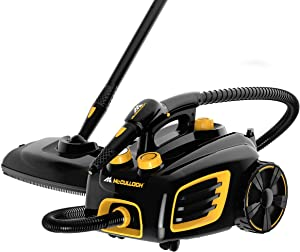 McCulloch MC1375 Canister Steam Cleaner with 20 Accessories, Extra-Long Power Cord, Chemical-Free Cleaning for Most Floors, Counters, Appliances, Windows, Autos, and More, 1-(Pack), Black