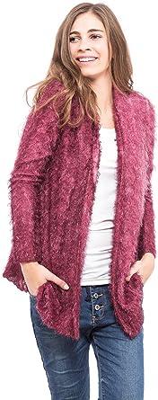 chaqueta de punto color vino para mujer