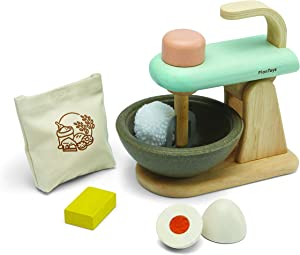 PlanToys Pretend Play Food Stand Mixer Set for Baking (3624) | Sustainably Made from Rubberwood and Non-Toxic Paints and Dyes