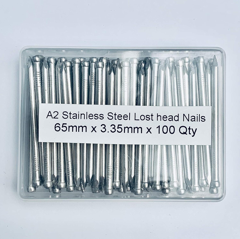 Paquete de 100 clavos de cabeza perdida de acero inoxidable A2 de 3,35 mm de di/ámetro x 65 mm de longitud embalados en recipiente de pl/ástico grado 304