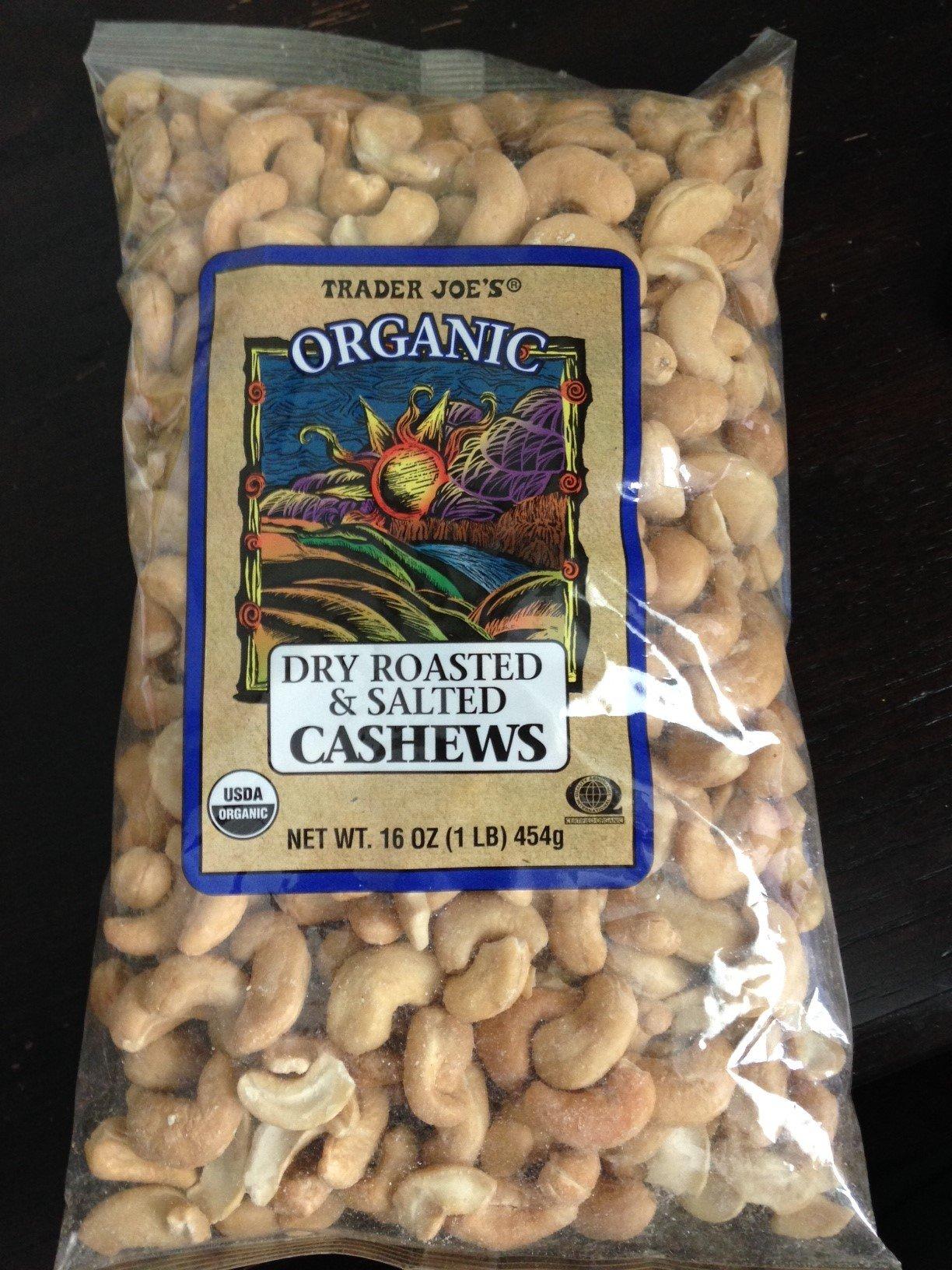 Trader Joe's Organic Dry Roasted & Salted Cashews 16 oz