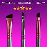 Star Beauty Eyebrow Brush Set 4pcs Kit Premium Quality Synthetic brushes FIRM HAIR Precision Shaping, Eye Brow Filling & Define Arches-Small Angle -Medium Angled & Duo Spoolie brow Definer BEST SELLER