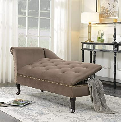 Amazon.com: Hebel Velveteen Button Tufted Storage Chaise ...