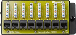 "On-Q AC1068 8-Port Cat 6 Network Interface Module, 1.5"" x 6.41"" x 2.9"", Yellow"