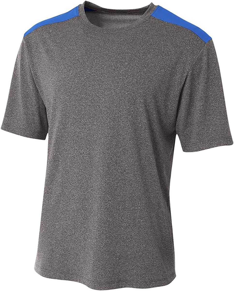 A4 Boys Tourney Heather Short Sleeve Colo Block Shirt