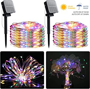 Outdoor Solar String Lights, 2 Pack 33FT 100 LED Solar Fairy Lights Waterproof Decoration Copper Wire Lights with 8 Modes for Indoor Outdoor Patio Yard Trees Christmas Wedding Party Decor(Multi-Color)