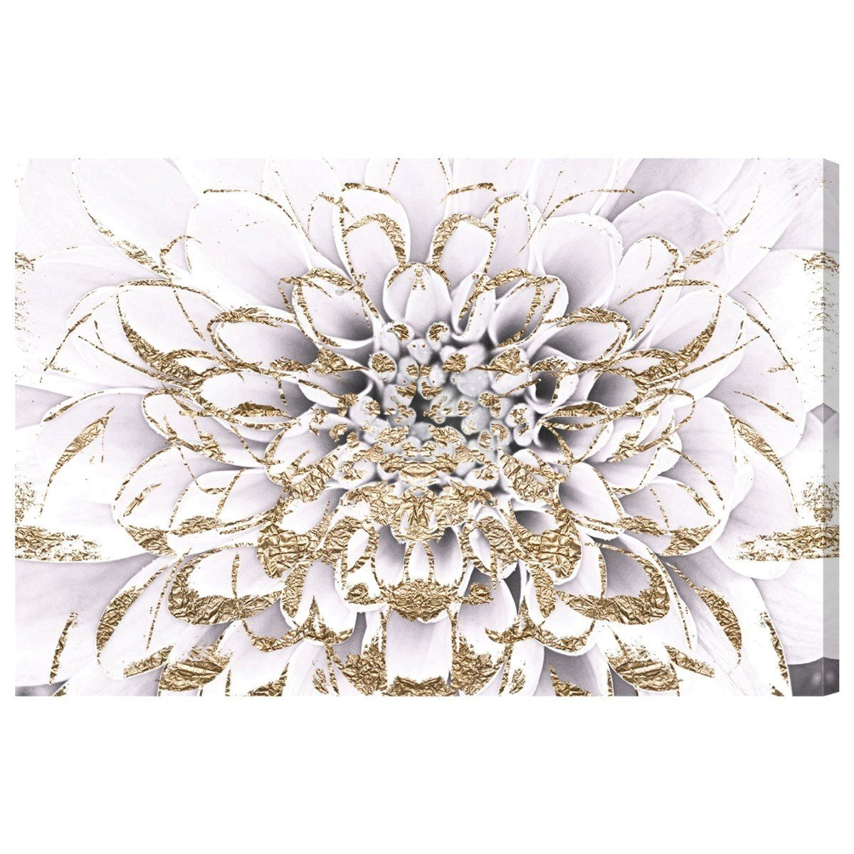 Floralia Blanc by Oliver Gal | Modern Premium Canvas Art Print. The Floral and Botanical Wall Art Decor Collection. 36x24 inch, Gold