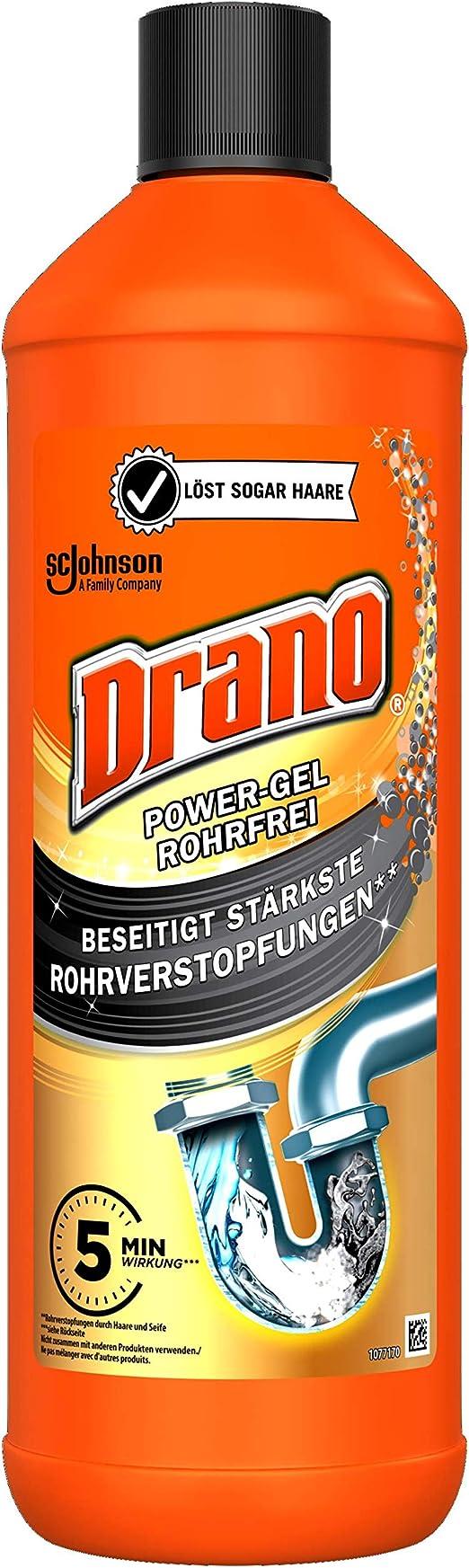 Drano (Mr Muscle) Power Gel Rohrfrei Abflussreiniger, Rohrreiniger, für  Küche & Bad, entfernt Verstopfungen, 199er Pack (199 x 199000 ml)