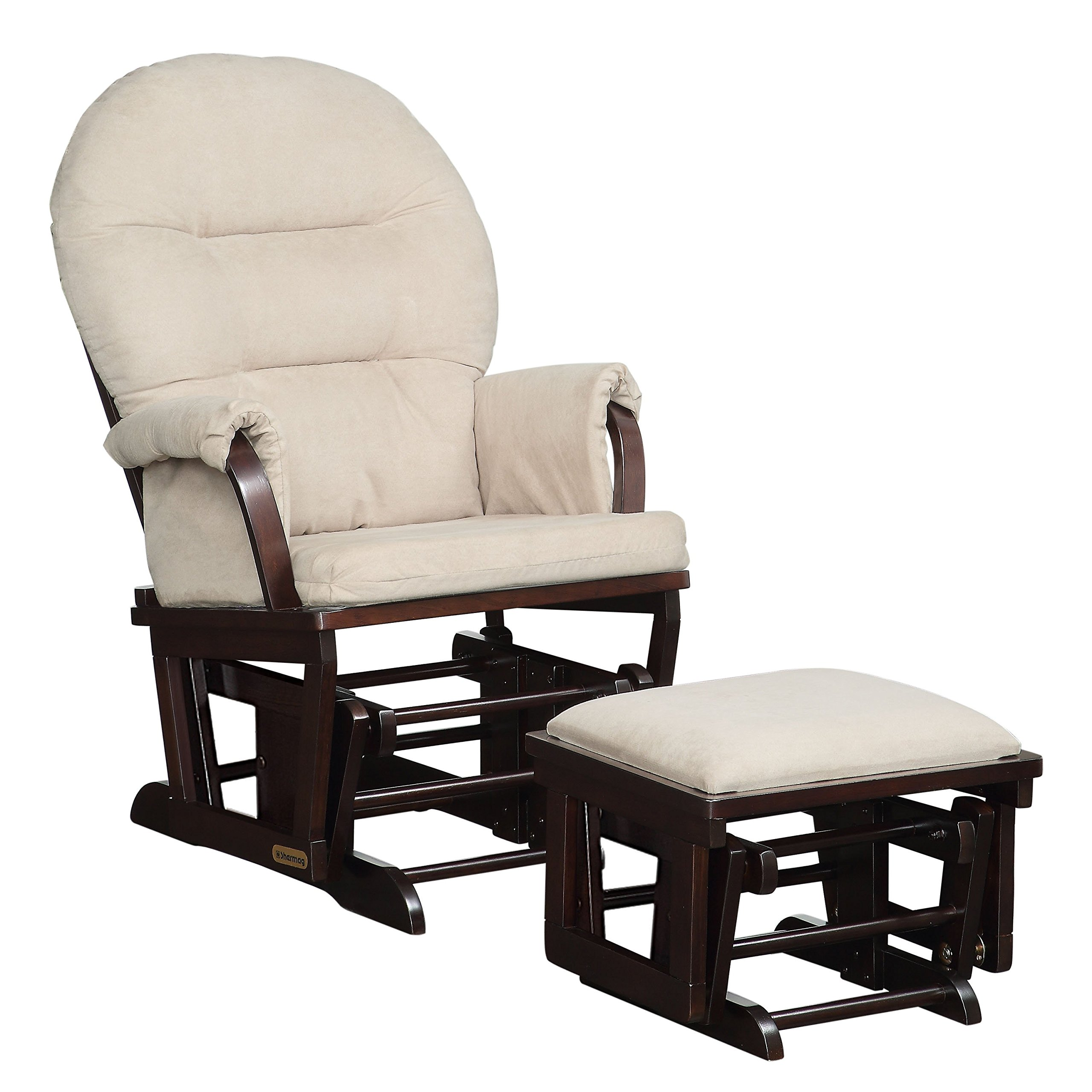 Lennox Contemporary Style Glider Chair and Ottoman Combo, Espresso with Pearl Beige by Lennox Furniture