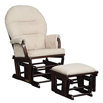Groovy Lennox Contemporary Style Glider Chair And Ottoman Combo Espresso With Pearl Beige Short Links Chair Design For Home Short Linksinfo