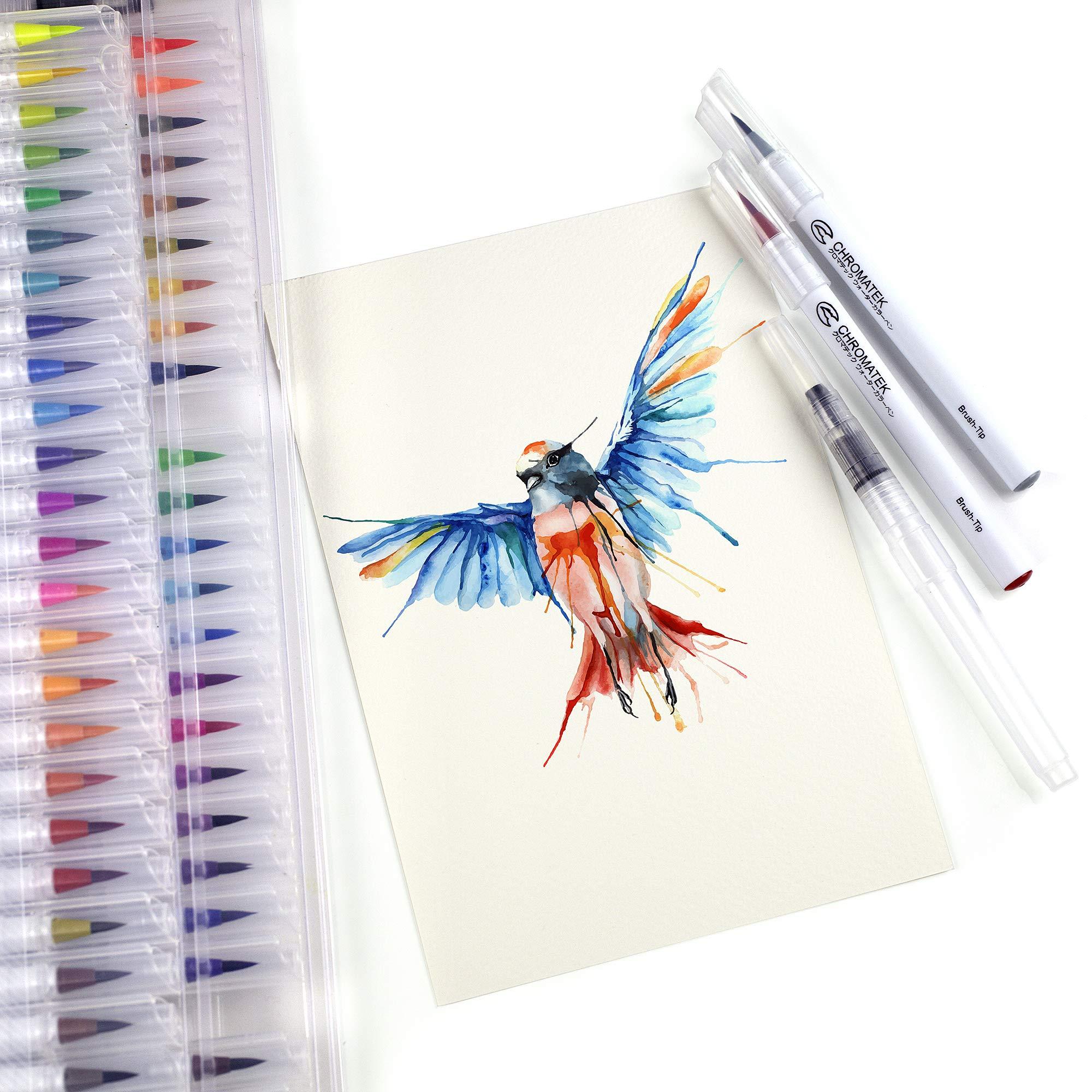 52 Watercolor Brush Pens, Tutorial Pad & Video Series by Chromatek. Real Brush Tip. Vivid. Smooth. Blendable. Long Lasting. Professional Artist Quality. 50 Colors 2 Blending Brushes. by Chromatek (Image #3)