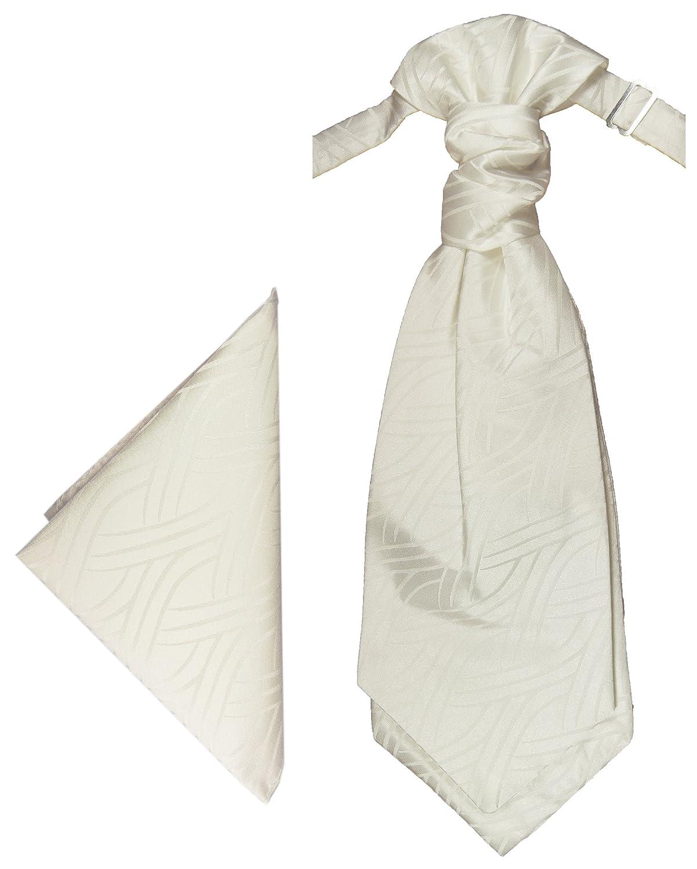Hochzeitskrawatten Set elfenbein Ivory 2tlg Plastron mit Einstecktuch by Paul Malone PMPSv54