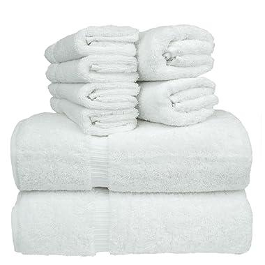 Chakir Turkish Linen 8-Piece Turkish Cotton Towel Set with 2 Bath Towel (27-Inch-by-54-Inch), 2 Hand Towel (16-Inch-by-30-Inch) and 4 Washcloth (13-Inch-by-13-Inch), White