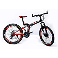MDS Unlimited Bicycles-Foldable Sports Cycle with 24 Gears and Double disc Brake 26 inch MTB Cycle (Black Red)