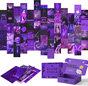 Boujee Purple Wall Collage Kit Aesthetic Pictures 60 Set for Teen Girls Bedroom Dorm Room Decor Photo Collection 4x6 inch Baddie Cute Girl Dark Neon Pink Teens Wall Art Aesthetic Collage Kit Posters