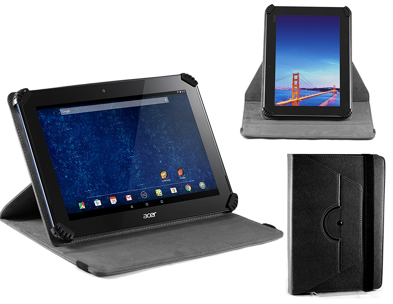 "Navitech 10.1"" Black Case/Cover with 360 Rotational Stand & Stylus Pen Compatible with The Acer Iconia Tab 10 A3-A30"