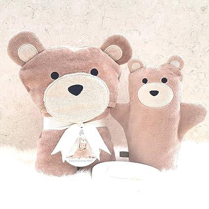 Juego de toallas de regalo para bebé con diseño de conejitos de baño, color marrón