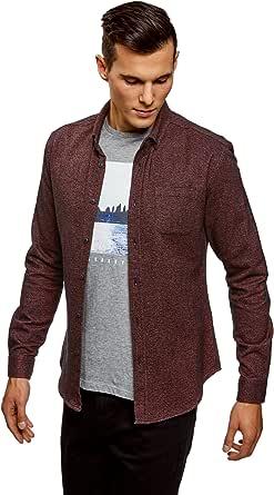 oodji Ultra Hombre Camisa de Algodón con Bolsillo en el Pecho