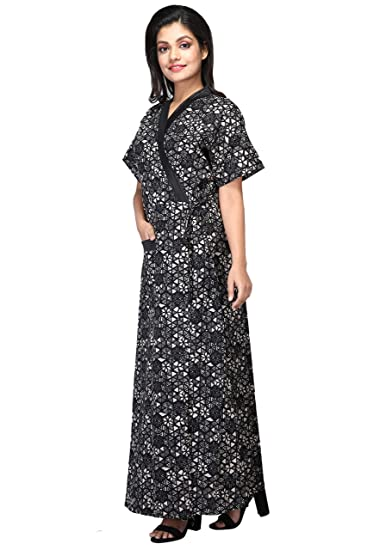 Baby Doll Womens Housecoat Lounge Coat Robe Indian Nighty Night Gown Nightwear Sleepwear Size L Cotton