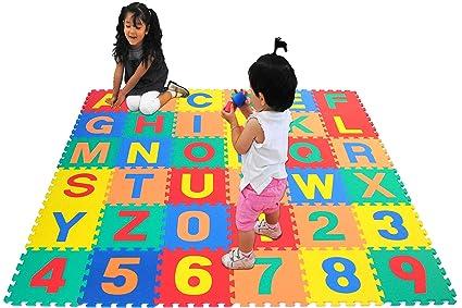 EWONDERWORLD 36 Piece Interlocking Kid/'s Puzzle Play Foam Mat Extra Thick Tiles Baby Floor Mat Exercise Mat
