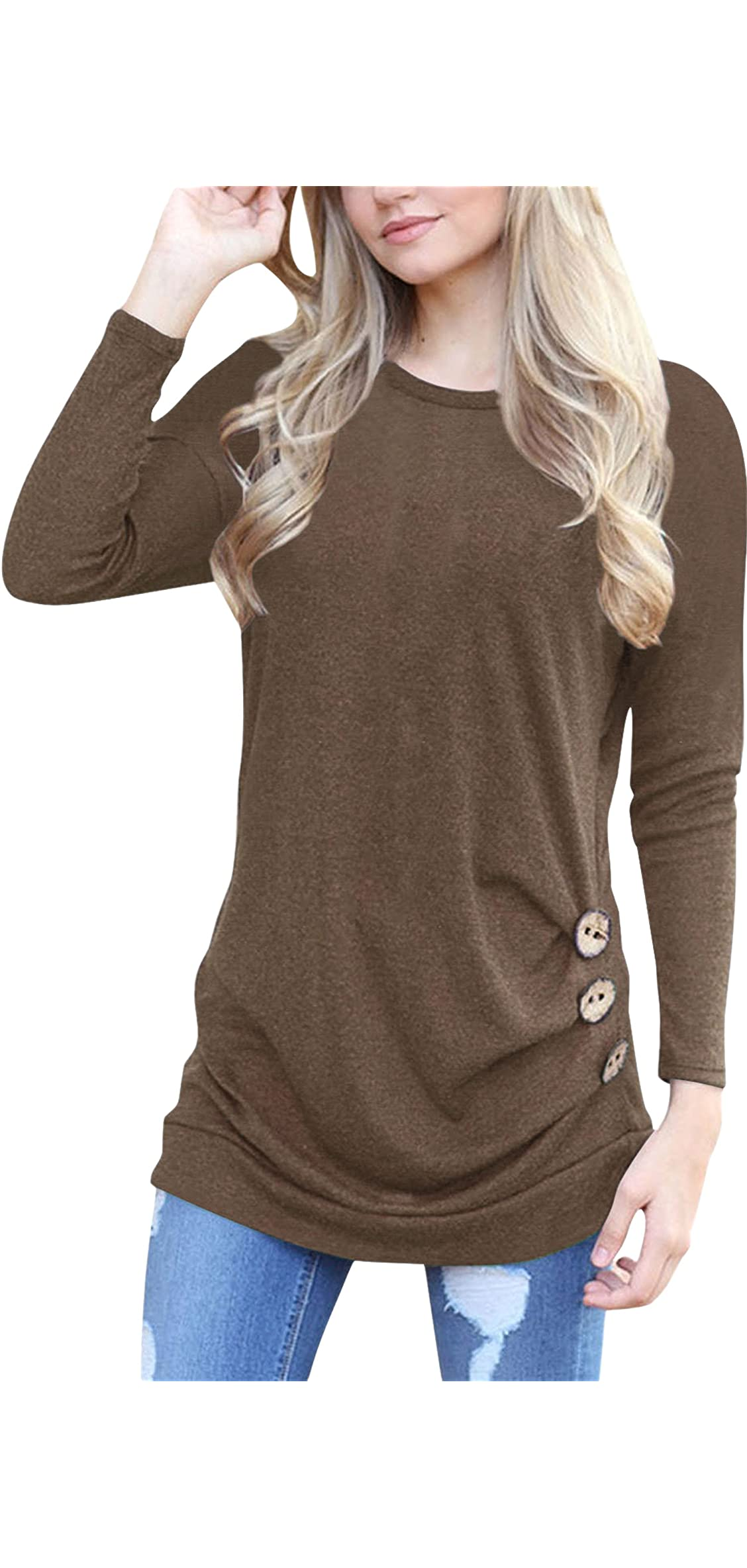 Women's Casual Long Sleeve Round Neck Loose Tunic T Tops