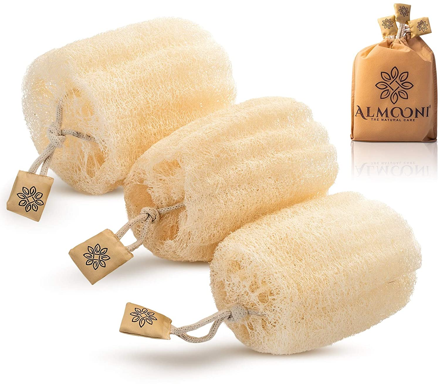 Premium Natural Eco-Friendly Egyptian Shower Loofah Sponge, Large Exfoliating Shower Loofa Body Scrubbers Buff Away Dead Skin for Smoother, More Radiant Appearance (3 lufa Pack): Beauty