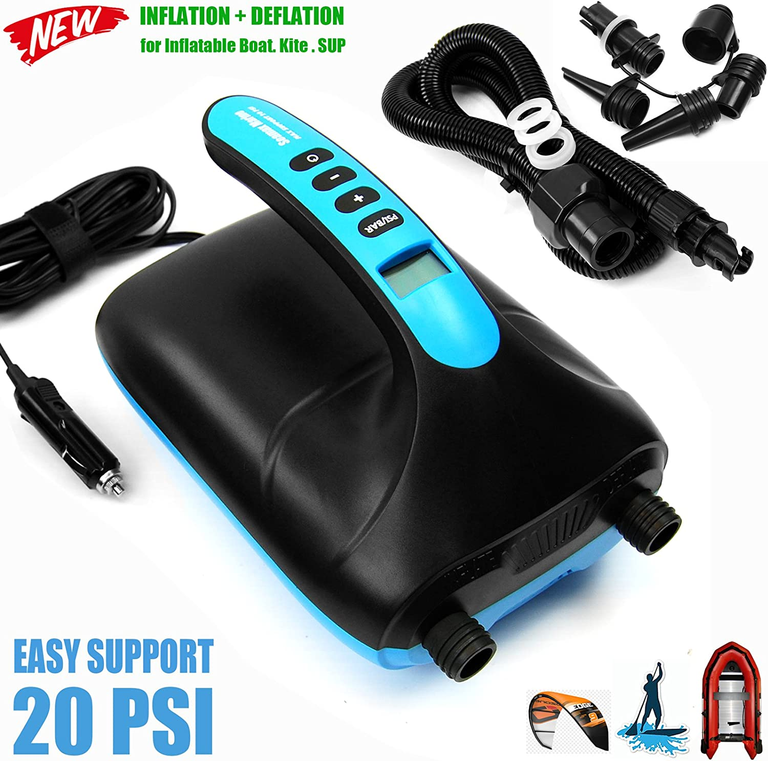 Seamax SUP20D 20PSI Double Stage Electric Air Pump for Inflatable SUP and Boat, New Version Intelligent Firmware with Built-in Temperature Sensor and Time Counter