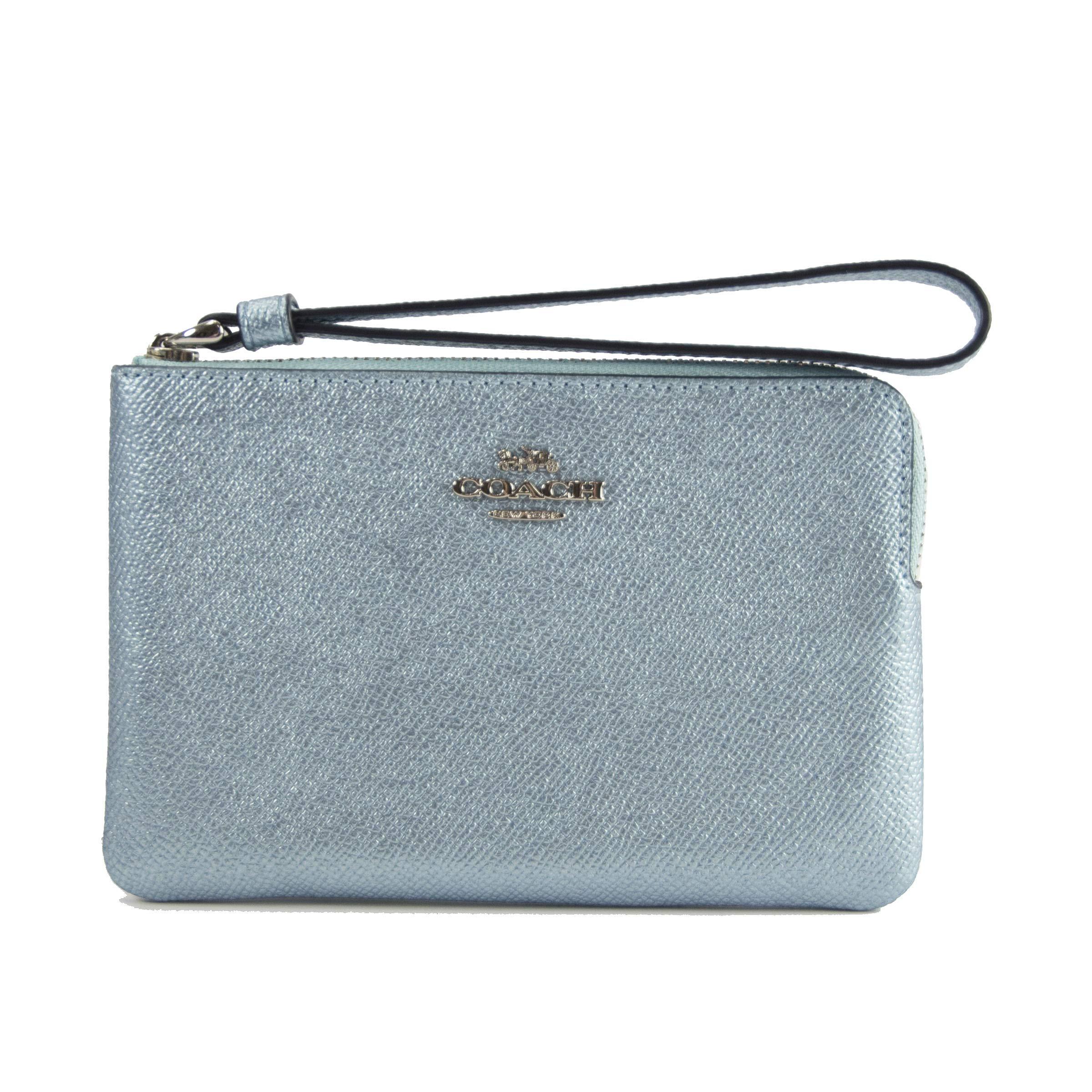 Coach Metallic Sky Blue Leather Flat Wristlet Wallet Bag 21070