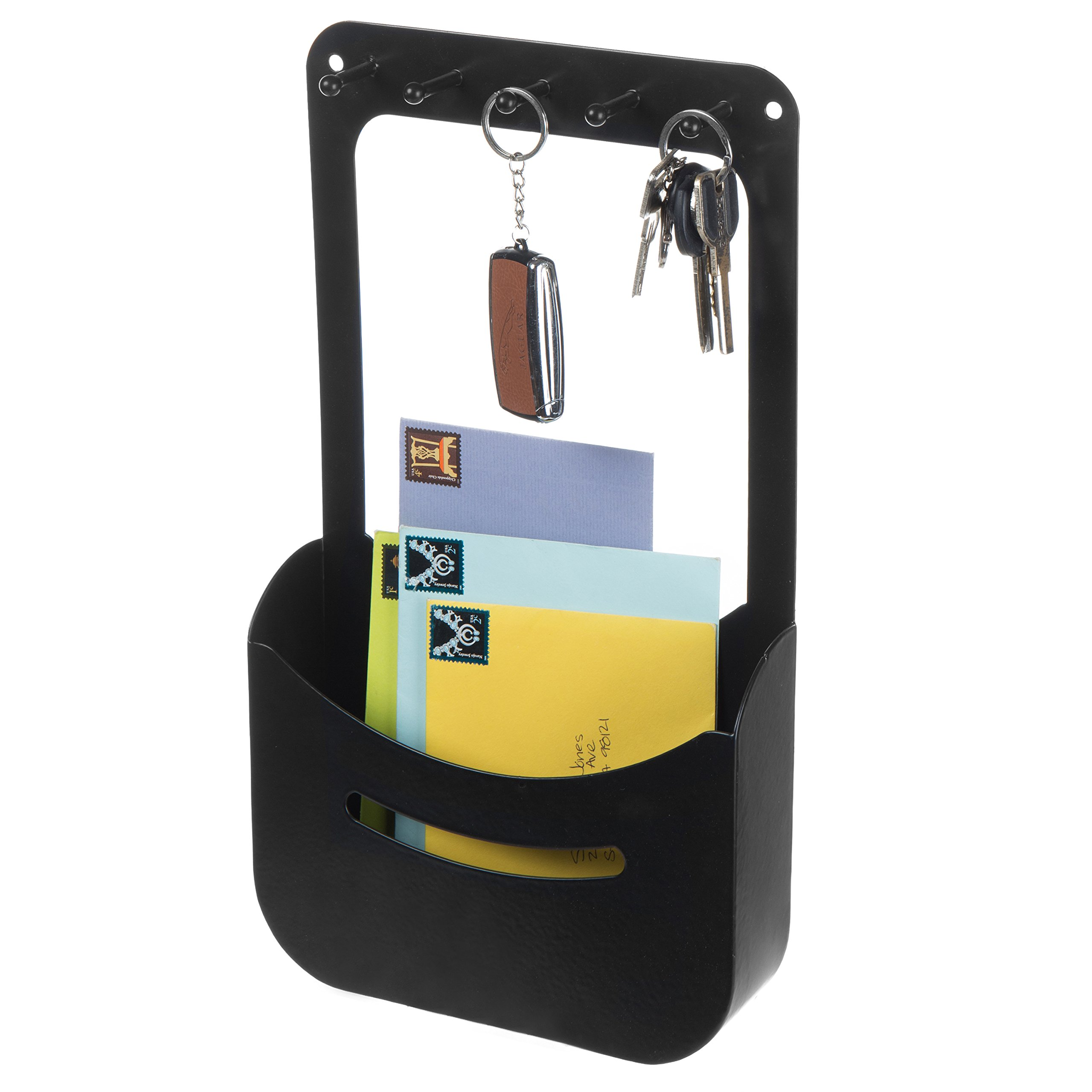 MyGift Modern Black Metal Wall-Mounted Mail Holder with 5 Key Hooks