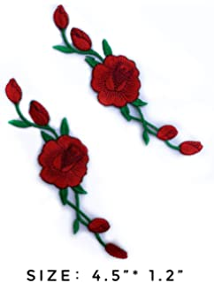589195bfe13f4 Amazon.com: Rose Patch for Vans Red Rose Vine Gucci Embroidered 2PCS ...