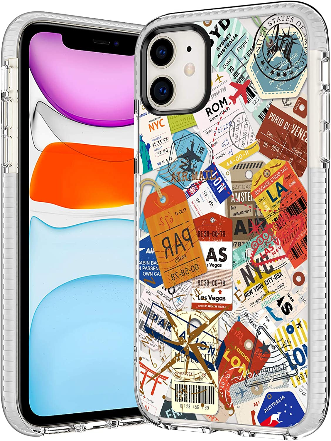 iPhone 11 Case,Case for iPhone 11,Trendy Travel Boarding Pass Luggage Baggage Stickers Labels Stamps Collection Cute Clear Soft TPU Bumper Anti Scratch Protective Case Cover Compatible with iPhone 11