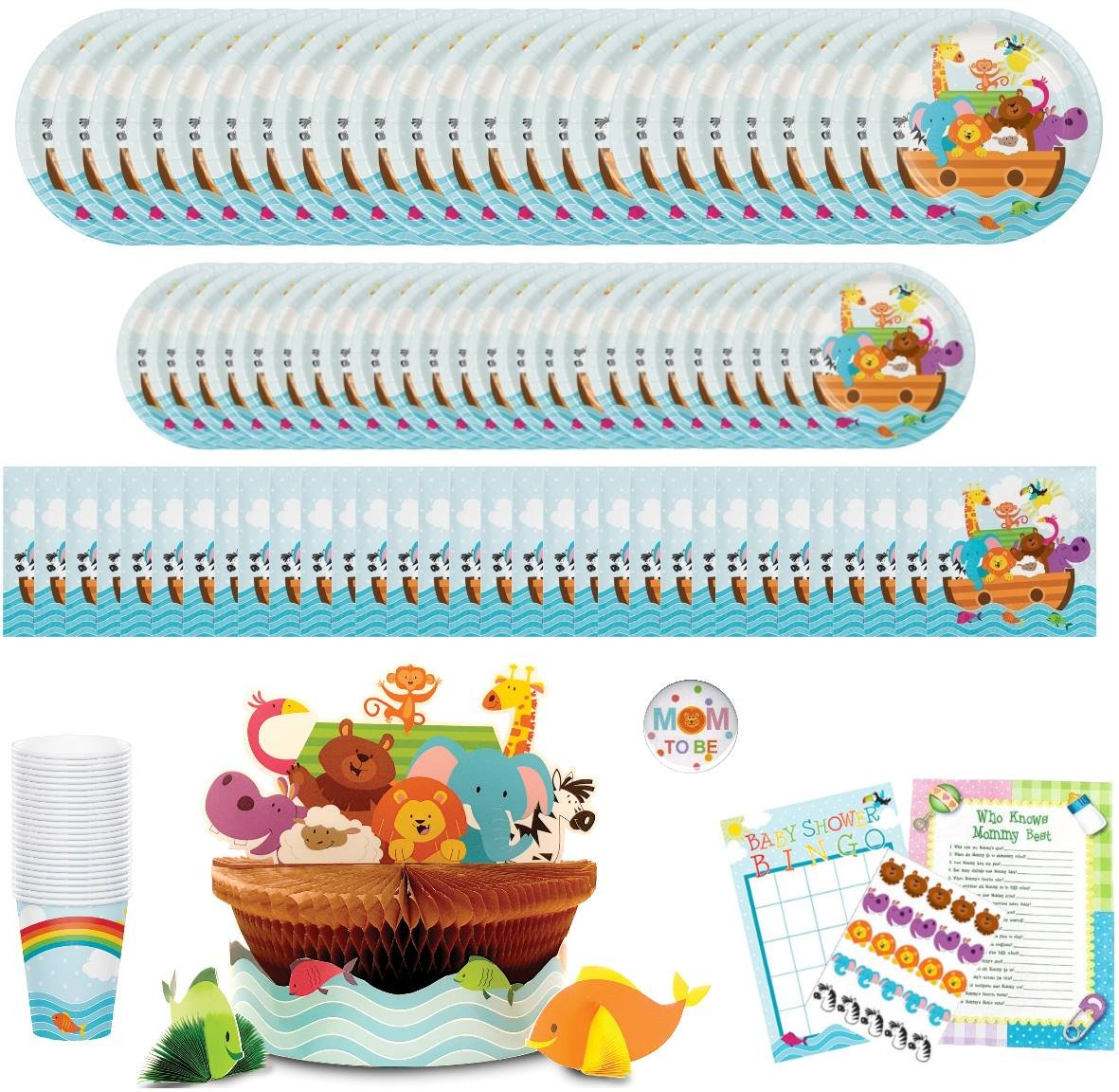 Noahs Ark Baby Shower Party Supplies: Paper Plates, Napkins, Cups, Centerpiece and Games Bundle for 24 Guests by Creative Converting