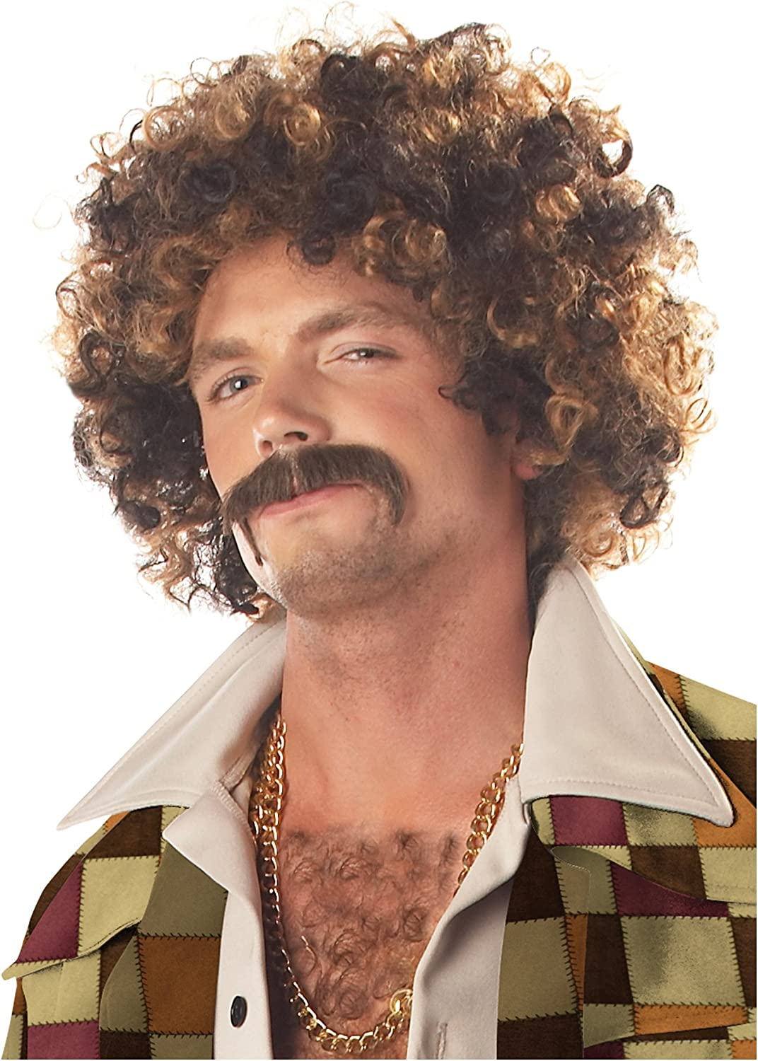 California Costumes Disco Dirt Bag Wig and Mustache