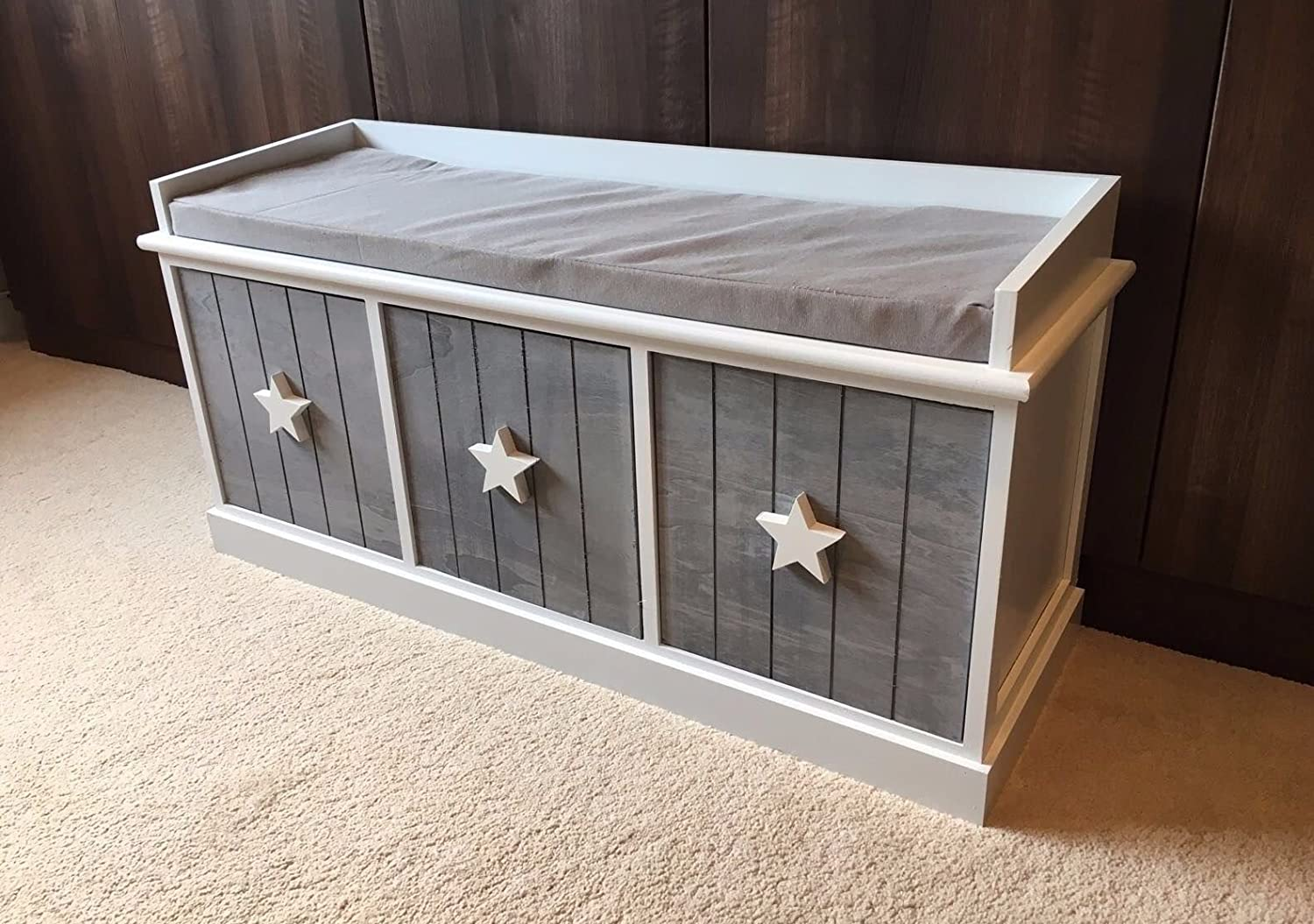 Home Delights Grey White Storage Unit Wooden Bench Shabby Chic Seat 3 Drawers Kids Room Retro