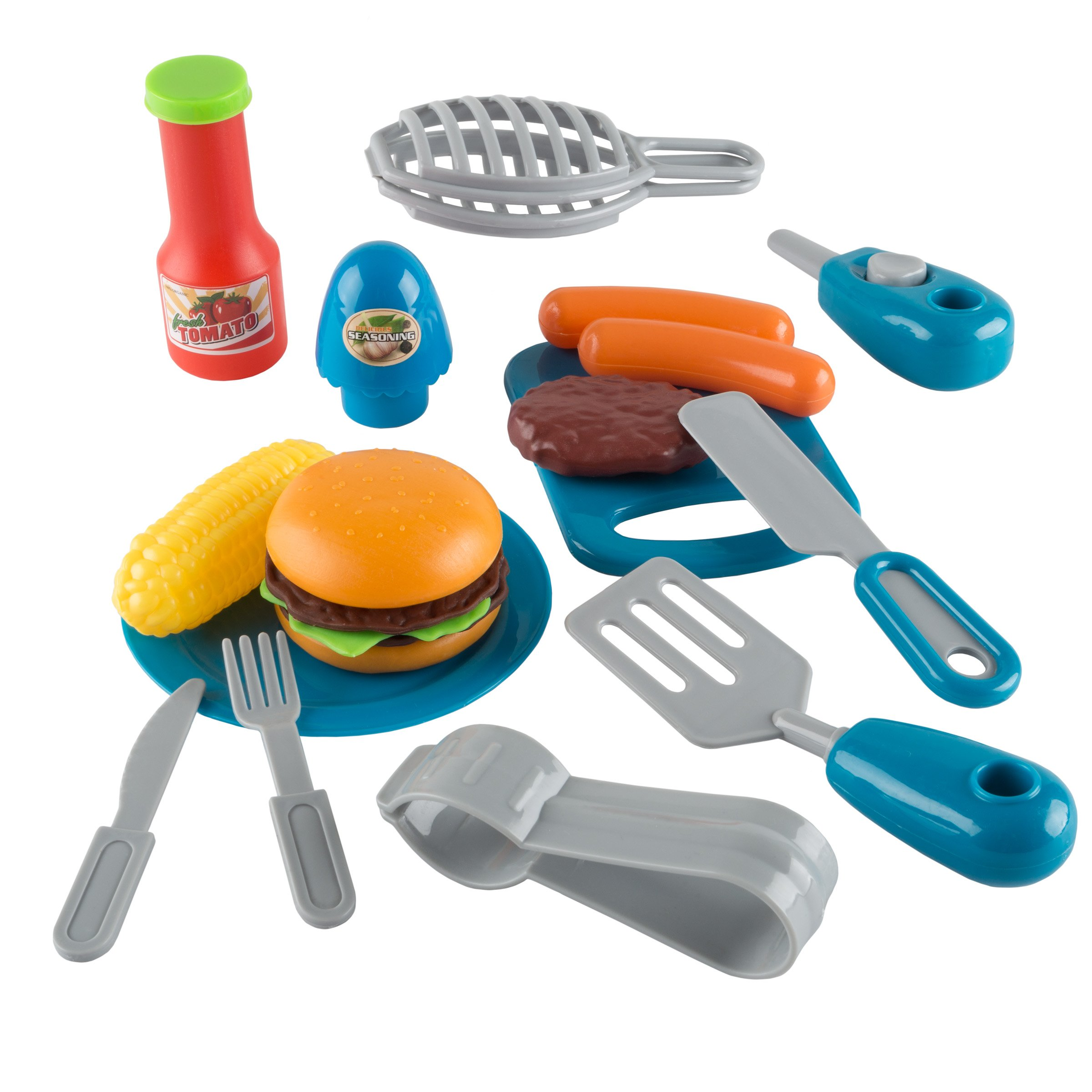 BBQ Grill Toy Set- Kids Dinner Playset with Realistic Sounds and Grate Lights- Includes Barbecue Food and Accessories, Pretend Kitchen by Hey! Play! (Image #6)